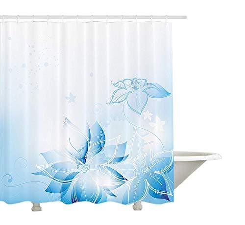 Yeuss hellblauer Duschvorhang, künstlerische handgezeichnete Narzissen magische Fantasie gedeihen weiche verträumte Anzeige, Stoff Badezimmer Dekor Set mit Haken, hellblau weiß