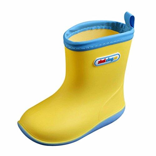 FeiliandaJJ Regen Schuhe, Kinder Kinder Baby Wasserdichte Soild Gummi Regen Stiefel Regen Schuhe (5.5-6T(19.5cm), Gelb) - Regen Stiefel Kleinkind-gelb