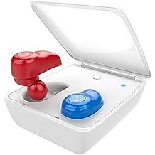 Auriculares Inalámbricos, MindKoo Earteana i7 Manos Libres Bluetooth 4.1 HIFI Cascos Realmente Sin Cable Headphones con MIC,Mini Invisible Earphones Deportivo In-Ear Headset [Con Caja de Carga ACTUALIZADO] - Rojo+Azul
