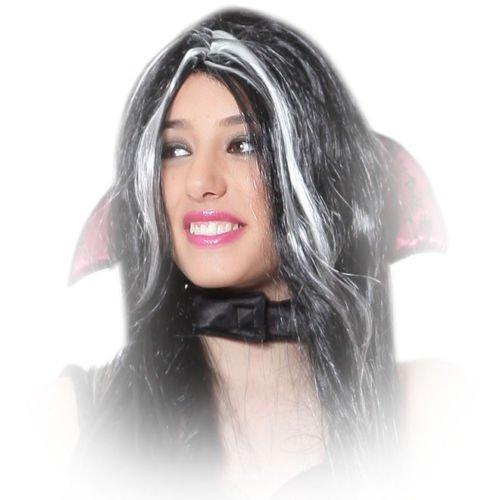 Parrucca bicolore morticia accessori per travestimento halloween carnevale