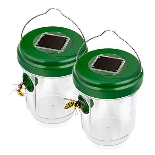 PESGONE 2 Set Mückenfalle und Wespenfalle mit Solar Licht I LED Leuchte lockt Mücken an, einfach mit Lockstoff füllen I Für Drinnen und Draußen