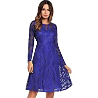8e6692e536 Onfly Women Round Neck Long Sleeve Lace Princess Dress A Line Skirts  Elegent Solid Hollow Mesh