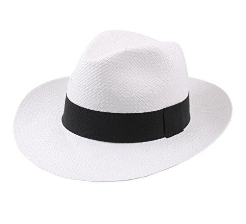 Classic Italy - Chapeau Panama Paille - 2 Coloris - Homme ou Femme Classic Paille Large - Taille 59 cm - Blanc