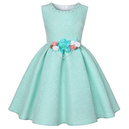 NROCF Mädchen Kleid, Ärmellose Rundhals Dreidimensionale Blume, Geprägte Textur Perle Dekoration Kleider,Mint,7 -