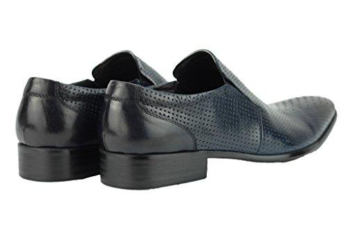 Herren Echt Leder Punch Loch braun blau Smart Slip auf Loafer Vintage Mod Schuhe Marineblau