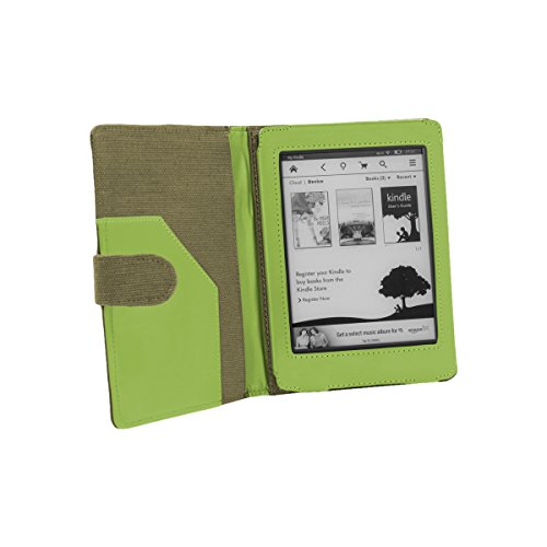 Cover-Up Cover protettiva per Amazon Kindle Paperwhite (Book style, Funzione sleep, in fibre di canapa naturale) Kaki / Verde