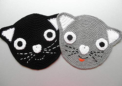 2 Topflappen Katzen - Black and Grey - Schwarz und Grau