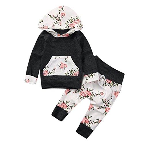 Neugeborene Kleidung Hirolan Strampler Mode 2pcs Kleinkind Säugling Baby Junge Mädchen Lange Hülse Kleider Set Blumen Drucken Kapuzenpullover Tops Hose Herbst Baumwolle Outfits (100cm, Dunkelgrau)
