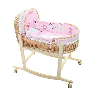 GOUO@ Baby Moses Basket Newborn Car Sleeping Basket Baby Portable Baby Shaker Rattan Cradle