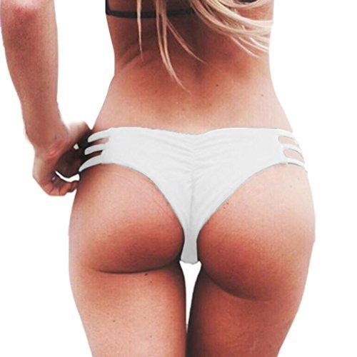 TWIFER Frauen Weave Badeanzug Bikini Bademode Badehose (M, Weiß)