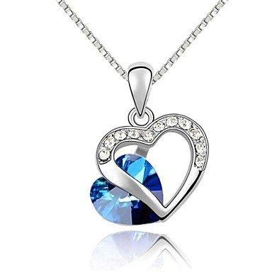 Dell'oro bianco 18K cuore della collana del pendente Ocean - Ocean Agata