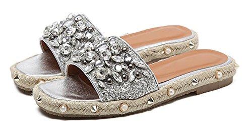 Perle pantoufles de paille femmes de sandales plates et pantoufles avec des femmes à talons bas White