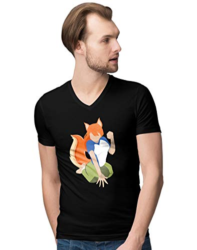 Red Head Anime Girl with a Tail Herren V-Neck T-Shirt S