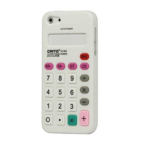 """iProtect Premium Taschenrechner Schutzhülle / Case / Cover / Silikon Case für das iPhone 5 in der """"3D Retro Calculator Edition"""" in WEISS / weiß / white"""
