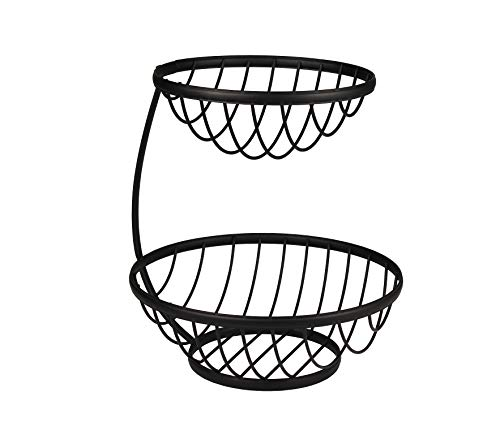 Spectrum Diversified Ashley 2-Tier Server Sturdy Steel Stacked Fruit Bowls, Produce & Vegetable Stand, Black (Zwei Server Tiered)