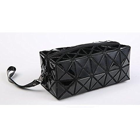 3D Geometrica Romboidale PVC Sacchetto Cosmetico Sacchetto di Trucco con Chiusura a Cerniera Caso di Trucco Portatile