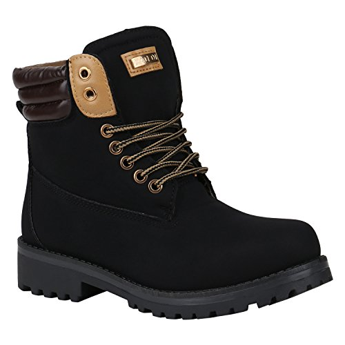 Stiefelparadies Warm Gefütterte Stiefeletten Damen Herren Unisex Worker Boots Outdoor Winterstiefel Schnürschuhe Wildleder-Optik Flandell Schwarz Braun
