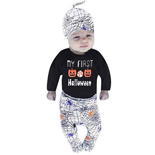 Baby Jungen Mädchen Neugeborenen Langarm Kürbis Drucken Strampler Overall Kleidung Hosen Set mit Hut und Stirnband 4 Stück Outfits Halloween Kostüm Karneval Party von Innerternet
