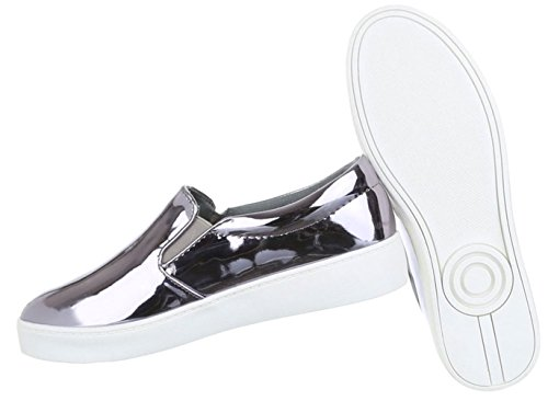 Damen Freizeitschuhe Schuhe Runner Sportschuhe Modische Slipper Silber 36 37 38 39 40 41 Silber
