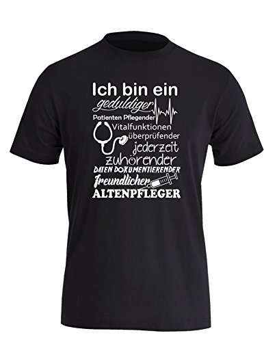 Ich bin ein geduldiger, Patienten Pflegender, Vitalfunktion überprüfender... freundlicher Altenpfleger - Herren Rundhals T-Shirt Schwarz/Weiss
