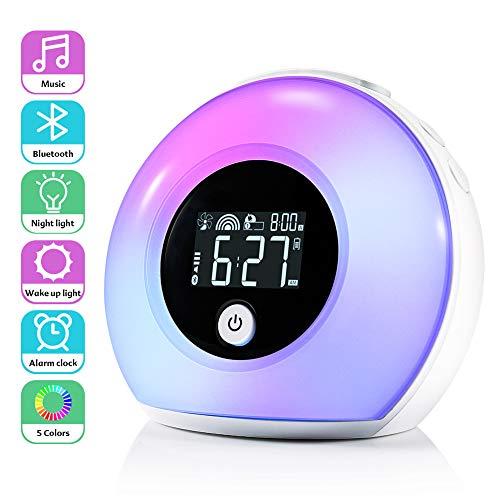 Lichtwecker für Kinder, ZOTO Wake Up Licht mit Bluetooth Lautsprecher, 5 Farbeinstellung, 4 Helligkeit, 3 natürliche Klänge und Vibration Induction Night Light für Kinder, Party, Schlafzimmer -