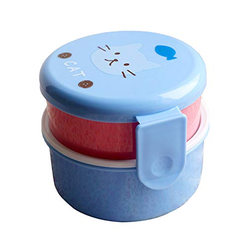 CAheadY Mini Student Kinder Bento Food Container Doppelschicht Mikrowelle Lunchbox Blue