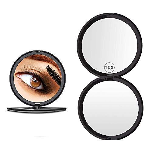 Gobesty Espejo de aumento de bolsillo, 10 espejos compactos de maquillaje de doble...