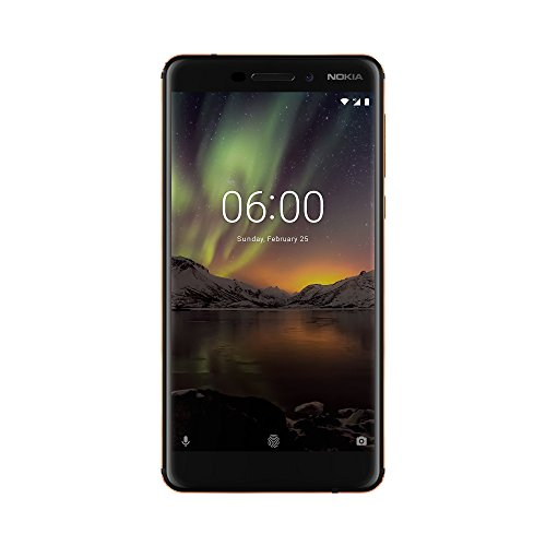 Nokia 6 Dual SIM Smartphone VERSION 2018 - deutsche Ware (5,5 Zoll IPS Full-HD Display, 32GB ROM, 3GB RAM, 16 Megapixel Rückkamera + 8MP Frontkamera, LTE, Pure Android 8 Oreo, Schnellladefunktion, MP3 Player, FM Radio, NFC, Wecker) inkl. Displayschutzfolie - schwarz/kupfer [Exklusiv bei Amazon]
