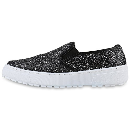Damen Slip-ons Glitzer Plateau Slipper Metallic Trend Schuhe | Gr. 36-41 | Aktuelle Kollektion Schwarz Avion