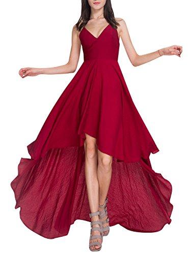 Missy Chilli Damen Partykleid Sexy V-Ausschnitt Rückenfrei Satin Maxi Kleid Lang Kleid Abendkleid Dress - Kleid Rote Prom Lang
