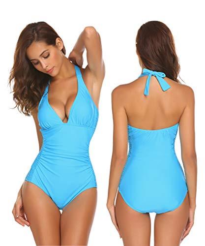 Damen rückenfrei swimwear badeanzug Einteiliger Schwimmanzug Schlankheits Badeanzug badeanzüge Swimsuit figurformend Bademode Halfter monokini, Hellblau, Gr. XXL(EU50-52) -