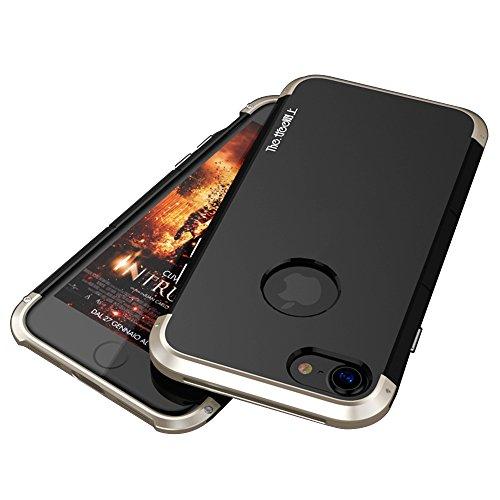 """iPhone 7 / iPhone 8 Coque , SHANGRUN Aluminium Metal Frame Bumper Coque + PC Matériel Protictive Couvercle housse Etui Protection Case pour iPhone 7 4.7"""" / iPhone 8 Noir+Rouge Noir+Or"""