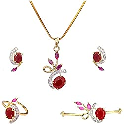 M CREATION Combo of Gold Plated American Diamond Pendant with Earrings, Bracelet and Ring for Women (Red)