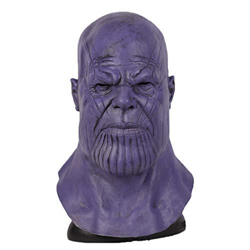 QWEASZER Thanos Mask Avengers: Endgame Cosplay Halloween Erwachsene Vollkopf Latex Helm Männer Masken Kostüm Merchandise Zubehör,Thanos-OneSize (Captain 2-halloween-kostüm America)