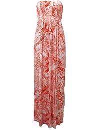 Nouveau femmes tonte recueillir boobtube bandeau dames bustier longue d'été maxi robe plus la taille toute couleur 44-50 XL / XXL (36-38, Impression 2)