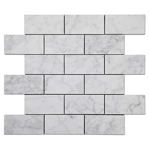 Diflart Carrara White Italian Carrera Marmor Subway Backsplash Fliese für Küche Bad 5 Stück 2x4inch brick tile, honed White with grey veins