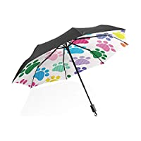 Umbrella Cute Paw Pattern Colorful Dogs Footprints 3 Folds Auto Open Close Anti-UV Windproof Lightweight