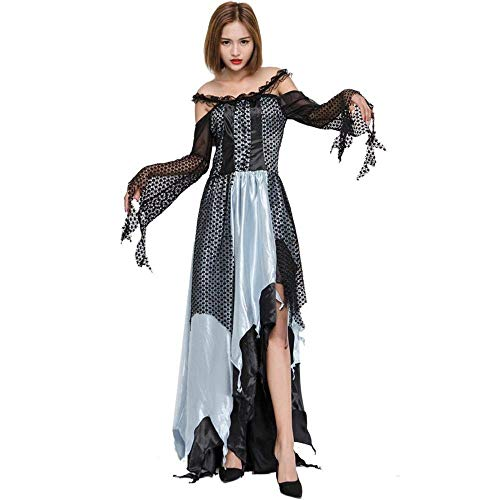 Fashion-Cos1 Halloween Kostüm Night Wandering Soul Female Ghost Hexe Kleid Multi-Code Nachtclub Rave Party Kostüme Long Skirts Magic Girl (Color : Black, Size : L)