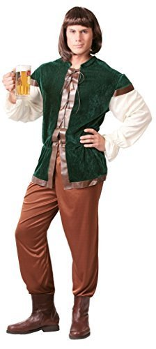 elalterlich Gastwirt Landlord Velvet Robin Hood Kostüm Kleid Outfit groß - Grün, Medium (Gastwirt Kostüm)