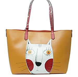... Cat Handbags For Women Leather Crossbody Cute Tote Shopping Purse Large  Shoulder Bag f650f20d62bae