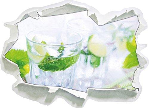 Mojito-Gläser mit Minze Kunst Buntstift Effekt, Papier 3D-Wandsticker Format: 92x67 cm...