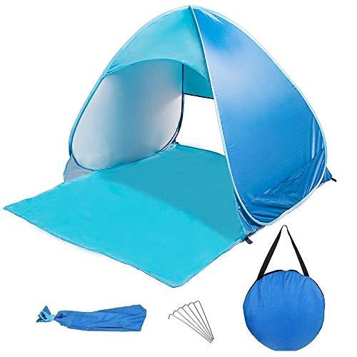 LoiStu Pop Up Strandzelt Tragbarer automatischer Sonnenschutz UV-Schutz wasserdicht mit Aufbewahrung (Blue)