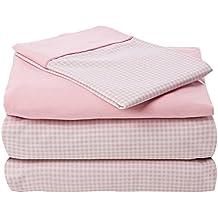 Atenas Home Textile Vichy - Juego de sábanas, 3 piezas, cama de 105 cm, color rosa