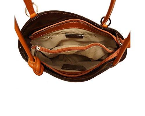 Florence Leather zaino borsa, Black & Brown (multicolore) - 207 Dark Brown & Tan