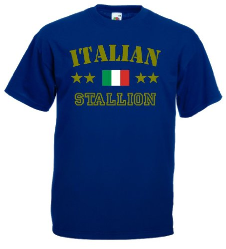 world-of-shirt Italian Stallion Herren T-Shirt Italien|navy L