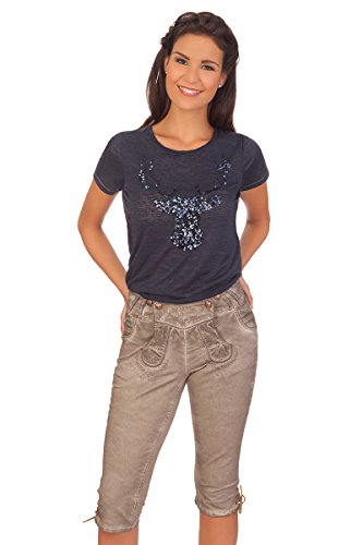 Trachten Damen Kniebundhose Jeans - NICOLE - beige, Größe 36