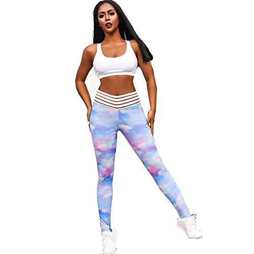 ZYUEER Leggings D'EntraîNement Pantalon Yoga Femme Sport, Pants Imprimé Stretch Rayé avec Poches Pas Cher (Multicolore, M)