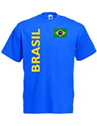 Brasilien Herren T-Shirt Brasil Trikot Fan Shirt|royal XXL