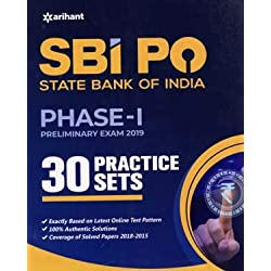 arihant SBI PO State Bank Of India Phase - I Preliminary Exam 2019 30 Practice Sets in English