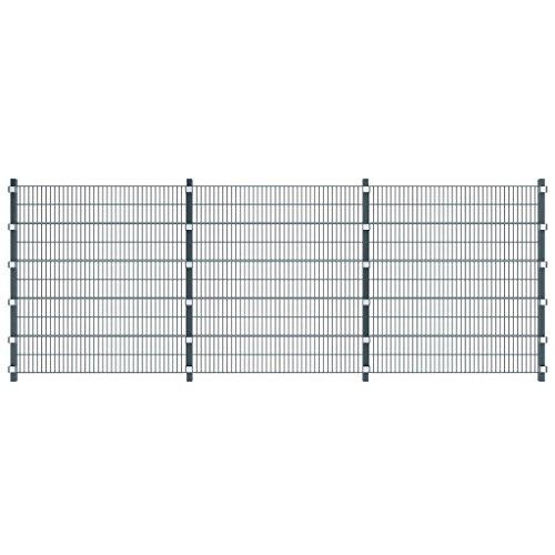 vidaXL Gartenzaun Industriezaun Gittermatten Doppelstabmattenzaun Pfosten 6 x 2m